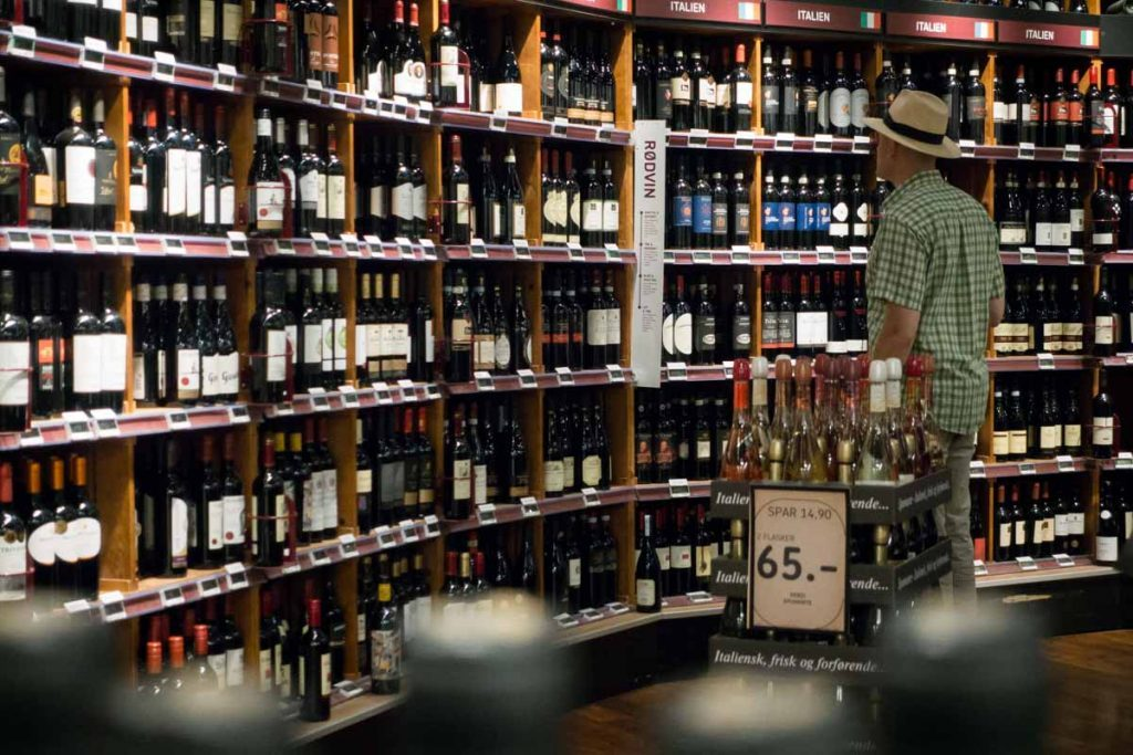 Choosing wine from store